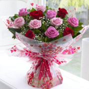 Pastel Pink & Red Mixed Rose Hand-tied