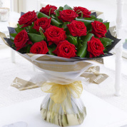 Deluxe 12 Red Naomi Rose Hand-tied