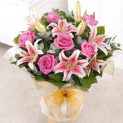 Rose & Lily Hand-tied Pink