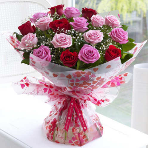 18 Pastel Pink & Red Rose Hand-tied
