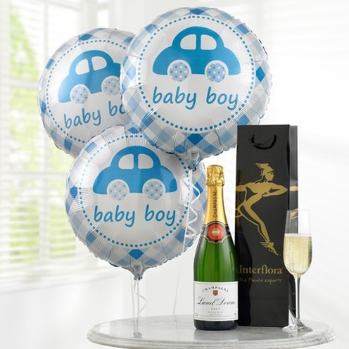 Champagne & Baby Boy Balloons