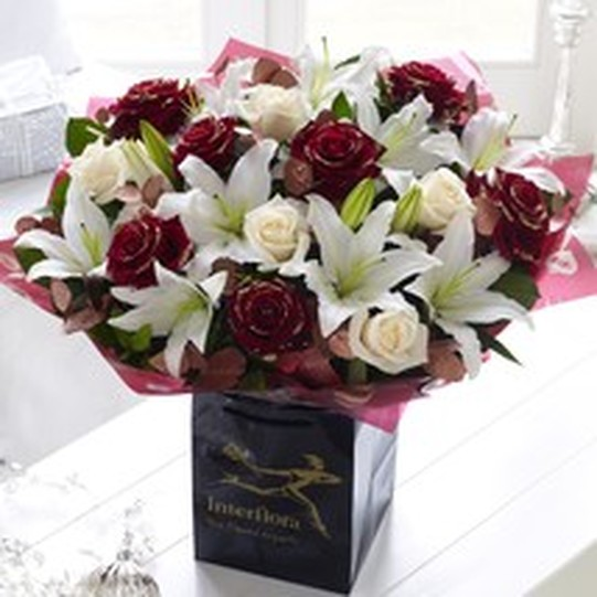 Superior Christmas Rose & Lily Hand-tied