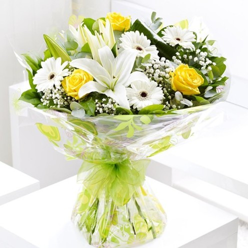 White Lily Sunshine Hand-tied