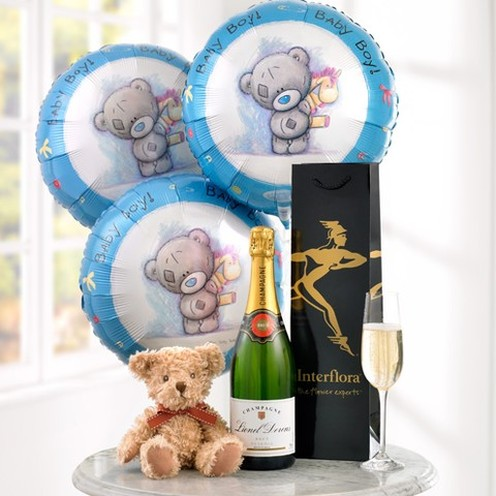 Champagne, Baby Boy Balloons and Teddy Bear