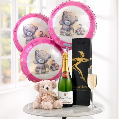 Champagne, Baby Girl Balloons & Teddy Bear