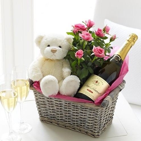 Champagne Baby Girl Basket