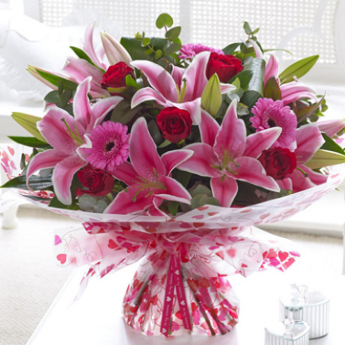 Deluxe Gerbera, Rose & Lily Hand-tied