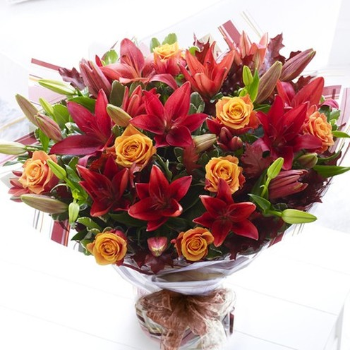 Deluxe Autumn Rose & Lily Hand-tied