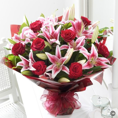 Deluxe Red Rose & Lily Hand-tied