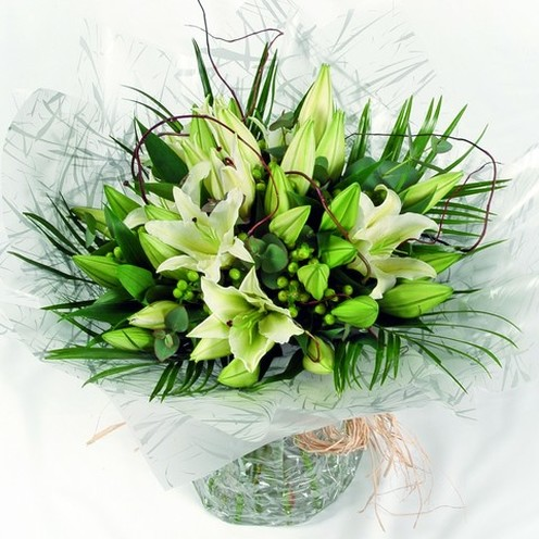 Deluxe White Lily Hand-tied