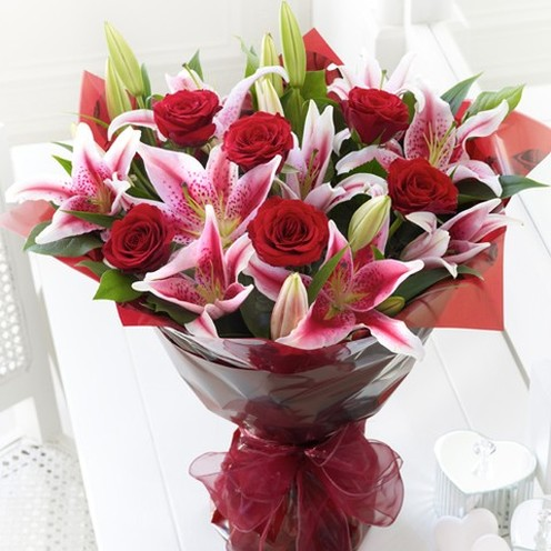 Red Rose & Lily Hand-tied