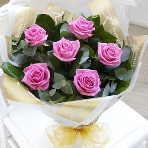 6 Pink Rose Hand-tied