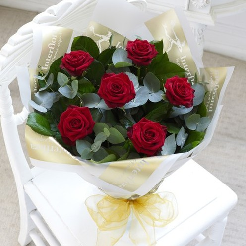 Six Red Rose Hand-tied