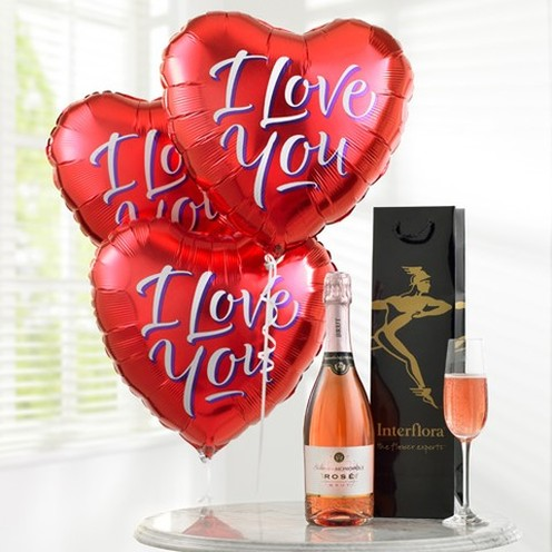 Sparkling Rose & I Love You Balloons