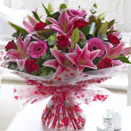 Superior Gerbera, Rose & Lily Hand-tied